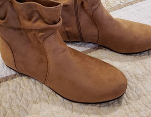 Torrid faux leather tan boots, size 11.5